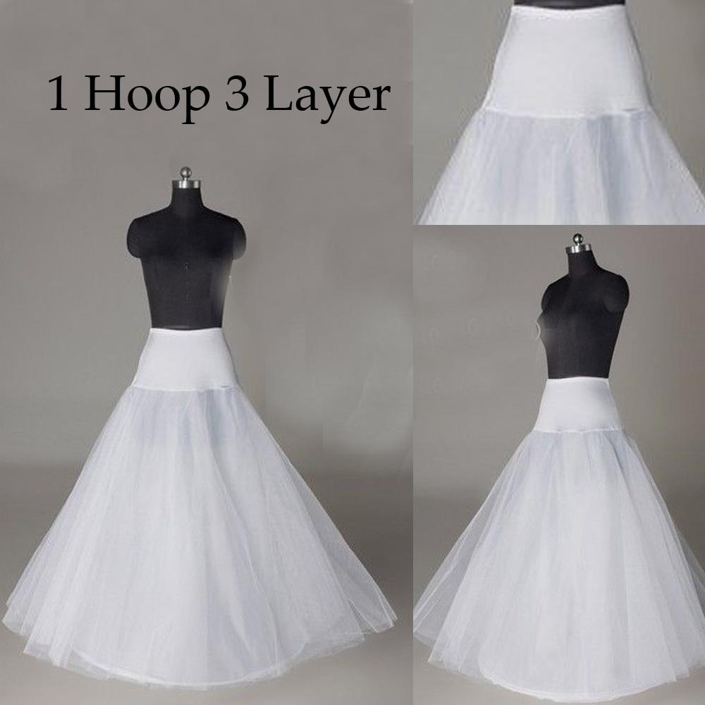 92fcca55185da 1 Hoop 3 Layer Bridal Petticoat Crinoline Long Wedding Dress Underskirt  White