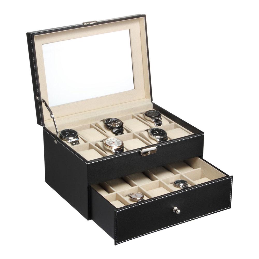 large 20 slot leather box display organizer