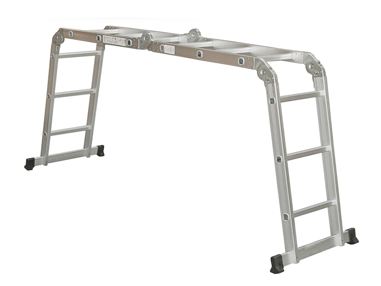 Folding Extension Ladder : Ft multi purpose aluminum folding step ladder scaffold