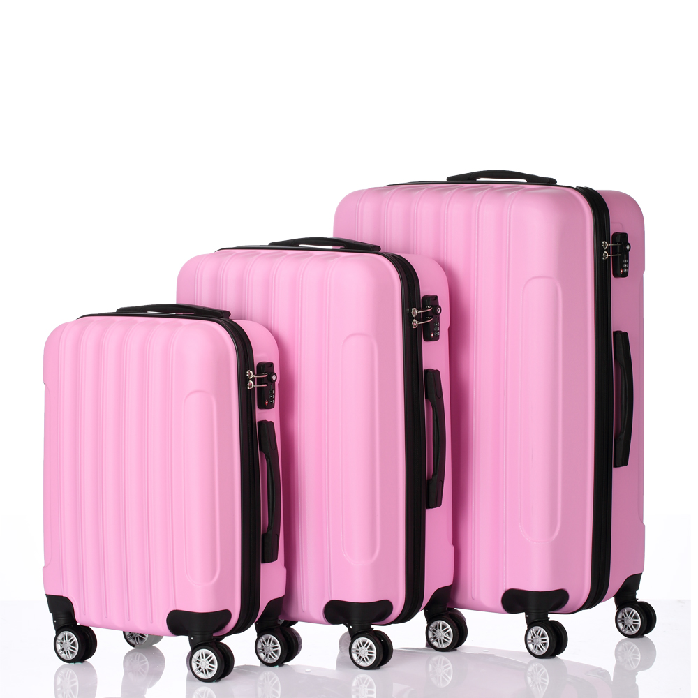 8e5079128 3 Pcs ABS Hard Suitcase Coded Lock Spinner Trolley Wheels Luggage Set Travel  Bag