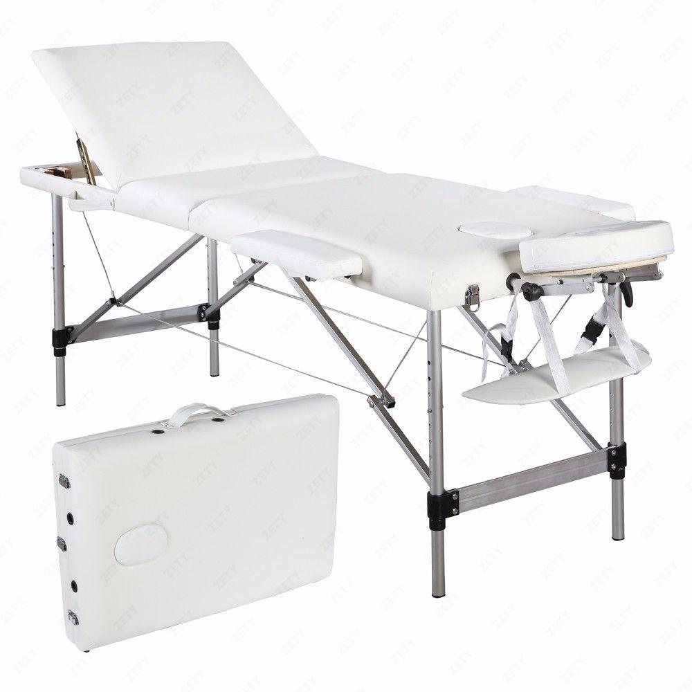 Portable Aluminum 3 Fold Massage Table Facial Spa Bed
