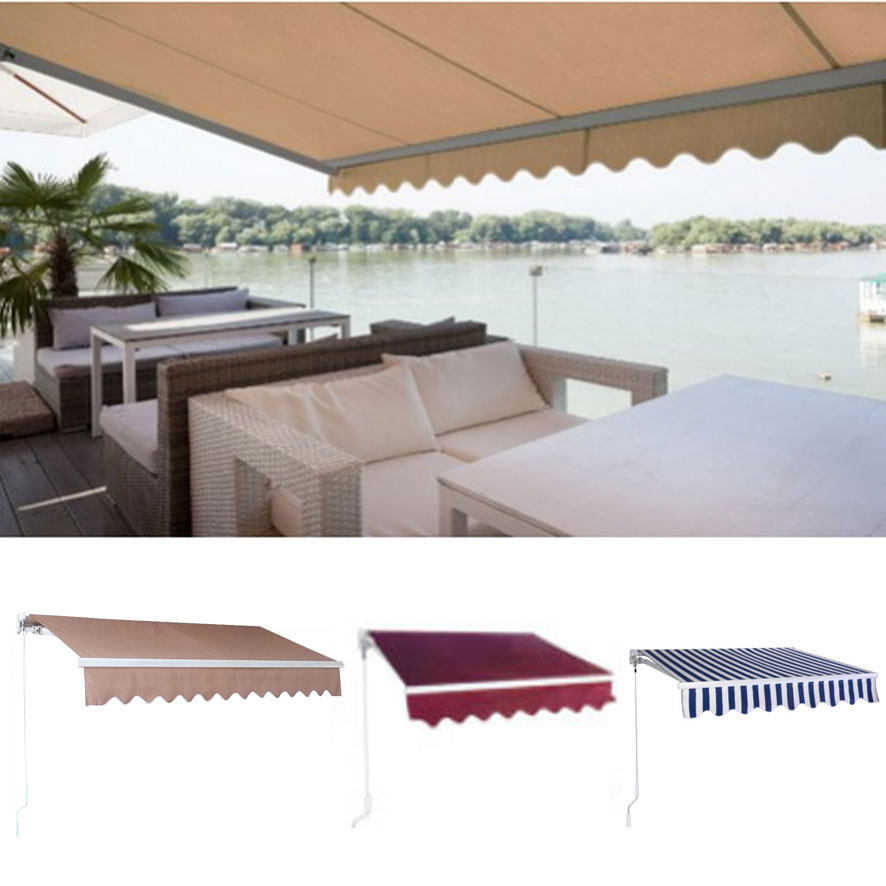 DIY Manual Patio Awning Deck Retractable Shade Sun Shelter