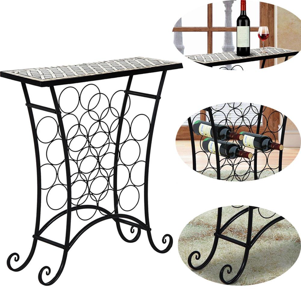 Kitchen Storage Tile Mosaic Table Wine Bottle Holder Metal