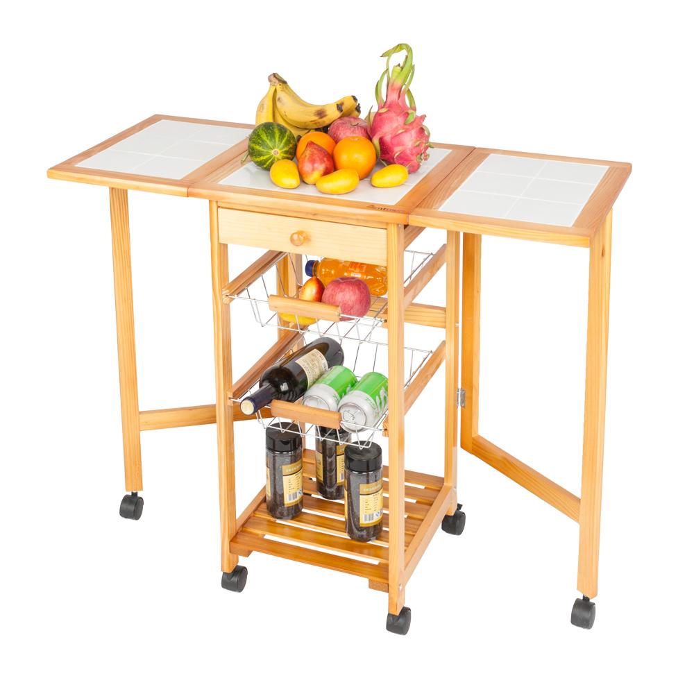 Kitchen Island Cart Trolley Portable Rolling Storage