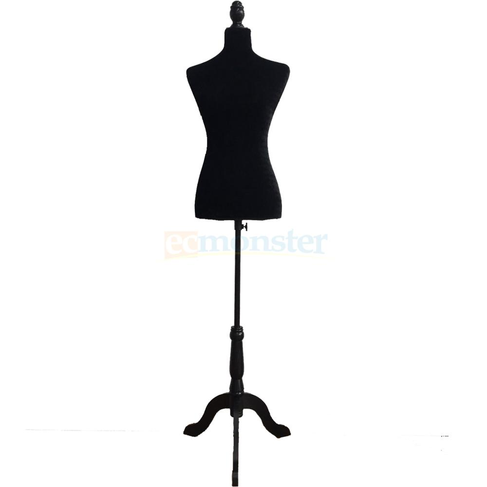 Female Mannequin Torso Dress Form Display w/ Black Tripod Stand ...