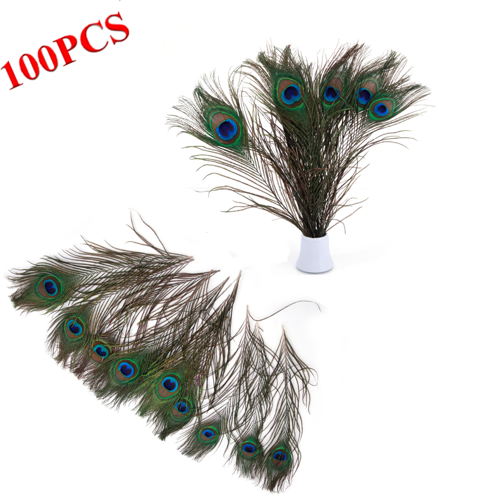 100PCS Natural Beauty Real Peacock Feather Party Wedding