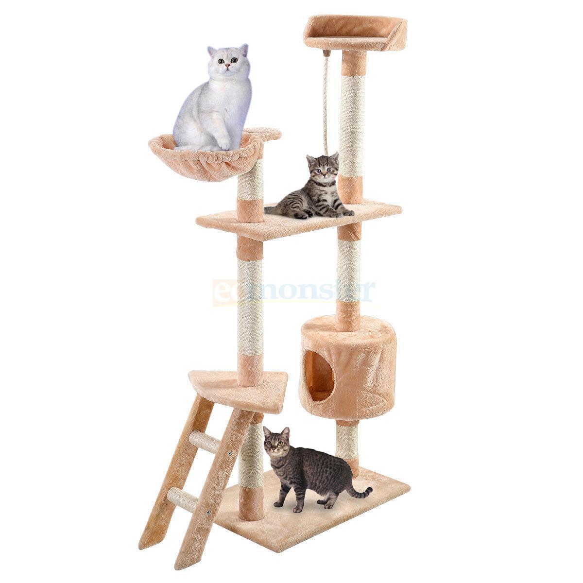 "60""Cat Tree Hammock Tower Condo Scratcher Furniture Kitten"