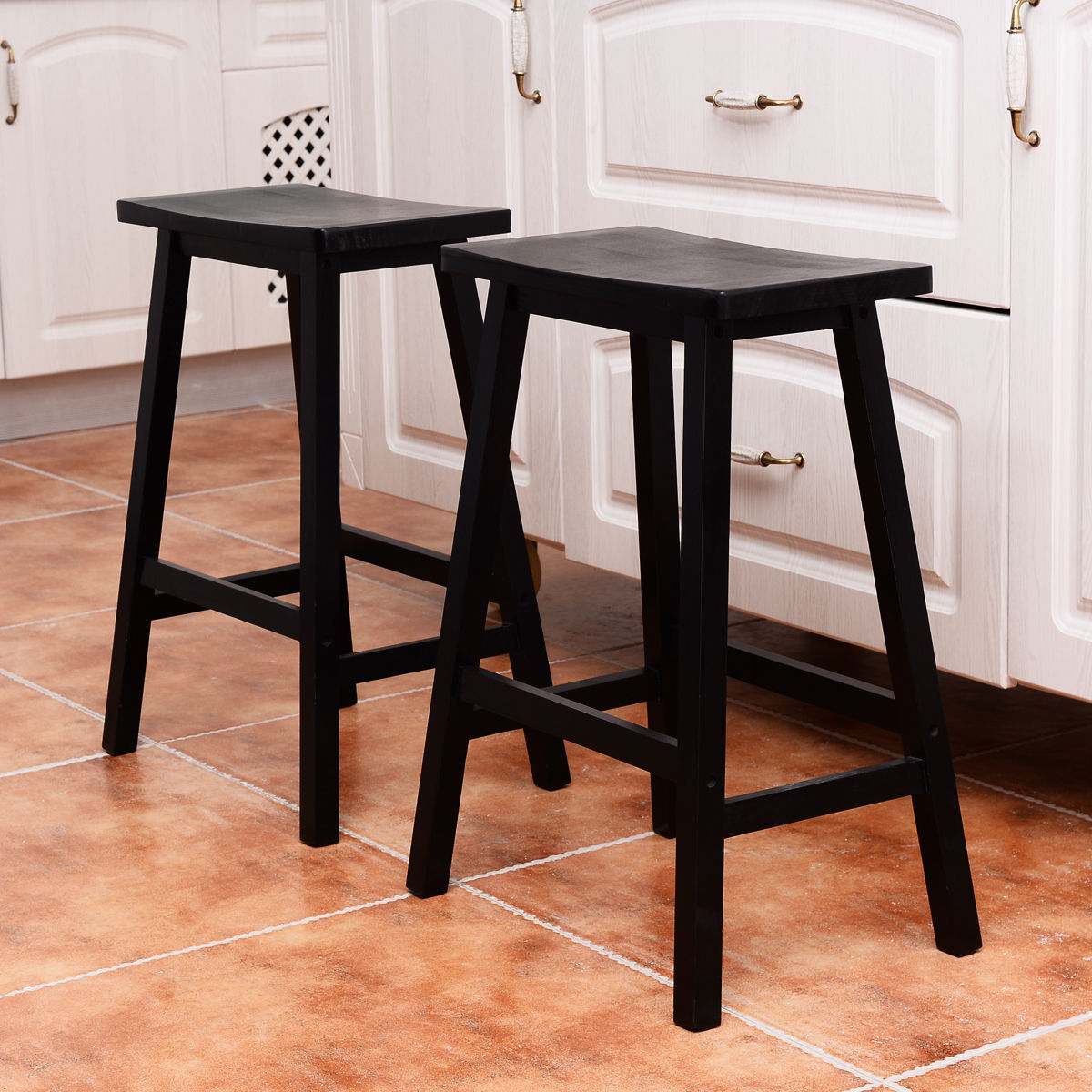 24 Height Bar Stools Kitchen Dining Room Saddle Seat Wooden Counter