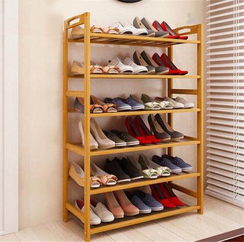 2tier bamboo shoe rack bench light brown