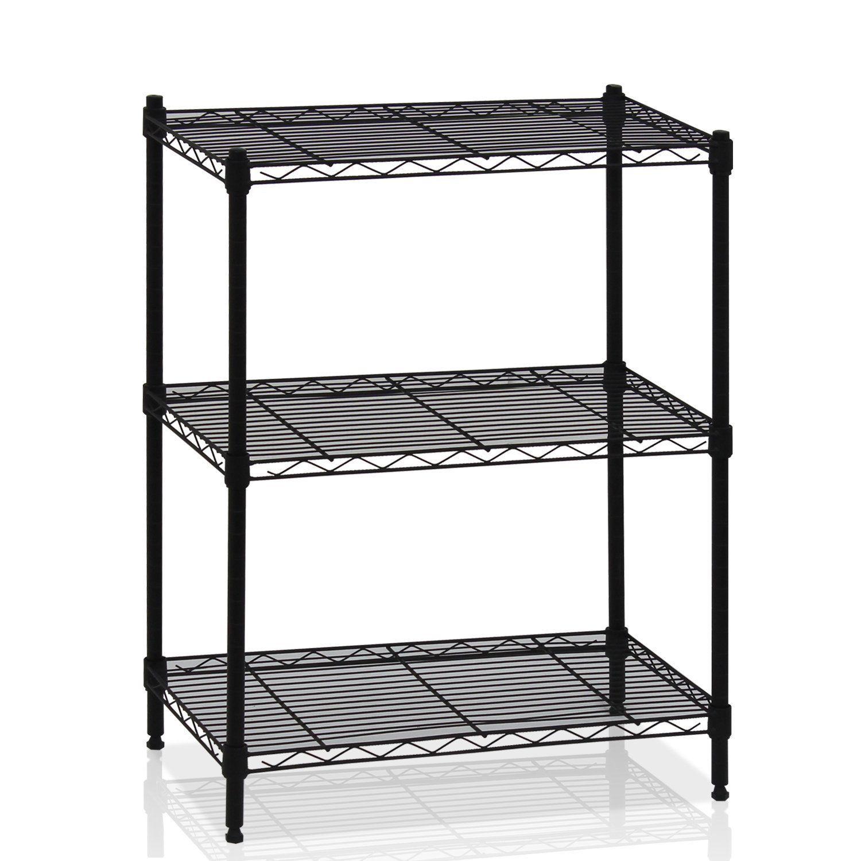 Details about Storage Shelf 3-Tier Metal Wire Rack Adjustable Rack Shelves Shelving Unit