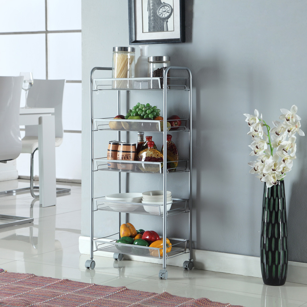 3/4/5 Layer Rack Shelf Shelving Rolling Kitchen Pantry Storage ...