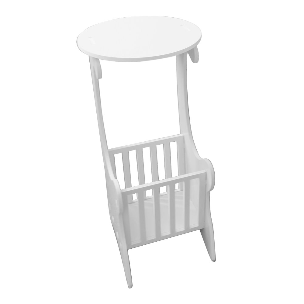 Side Table W/ Magazine Rack White Wood End Coffee Table