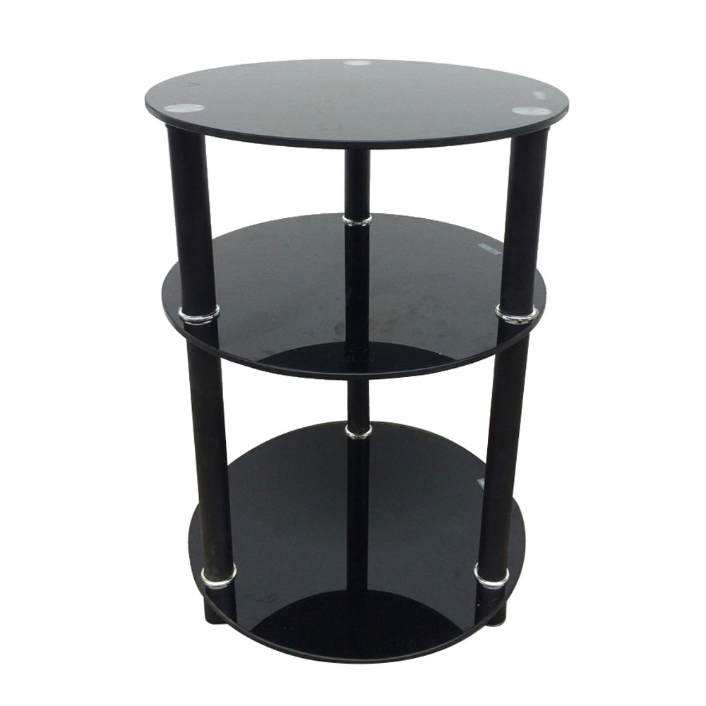 3 Tier Round Glass Side Sofa End Table Corner Stand Oragnizer Furniture 2  Colors