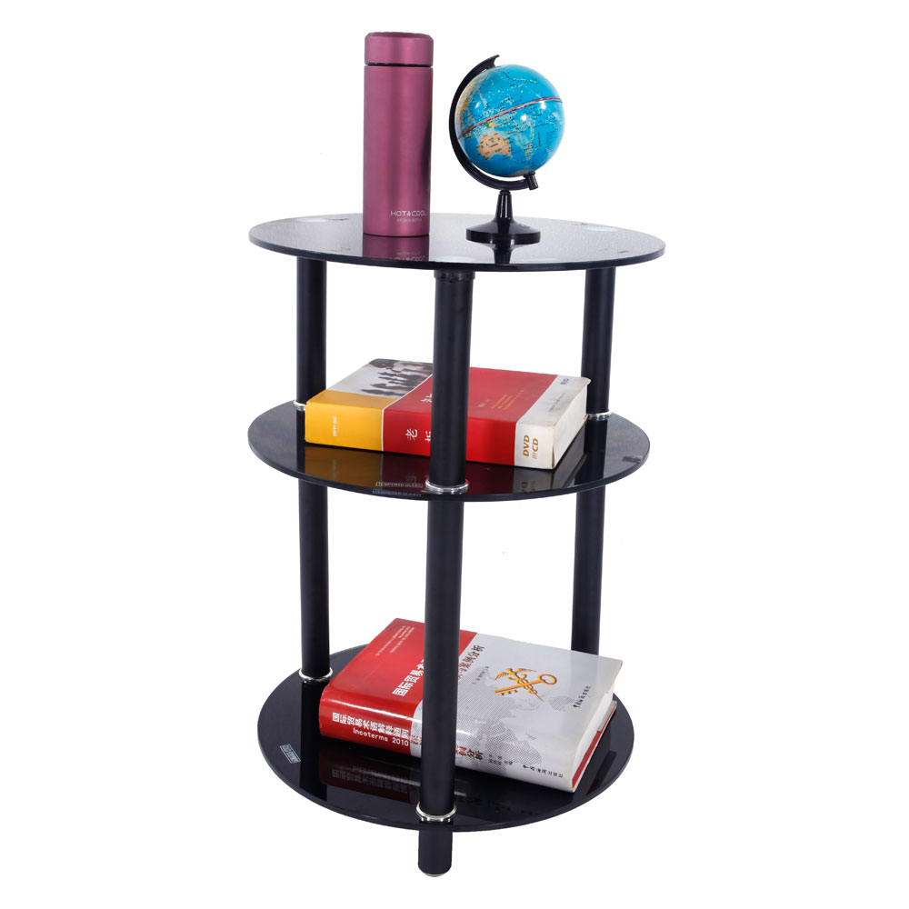 3 Tier Round Glass Side Sofa End Table Corner Stand