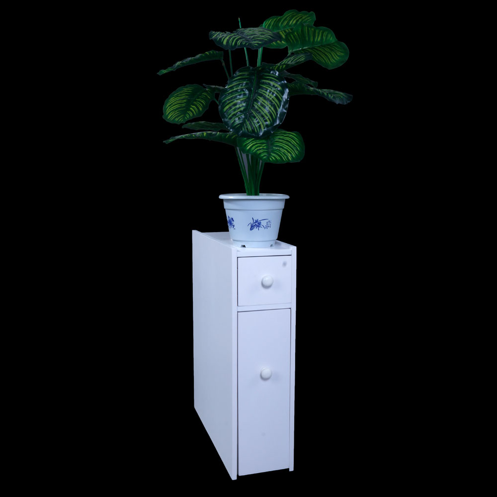 Narrow Wood Floor Bathroom Storage Cabinet Holder ...
