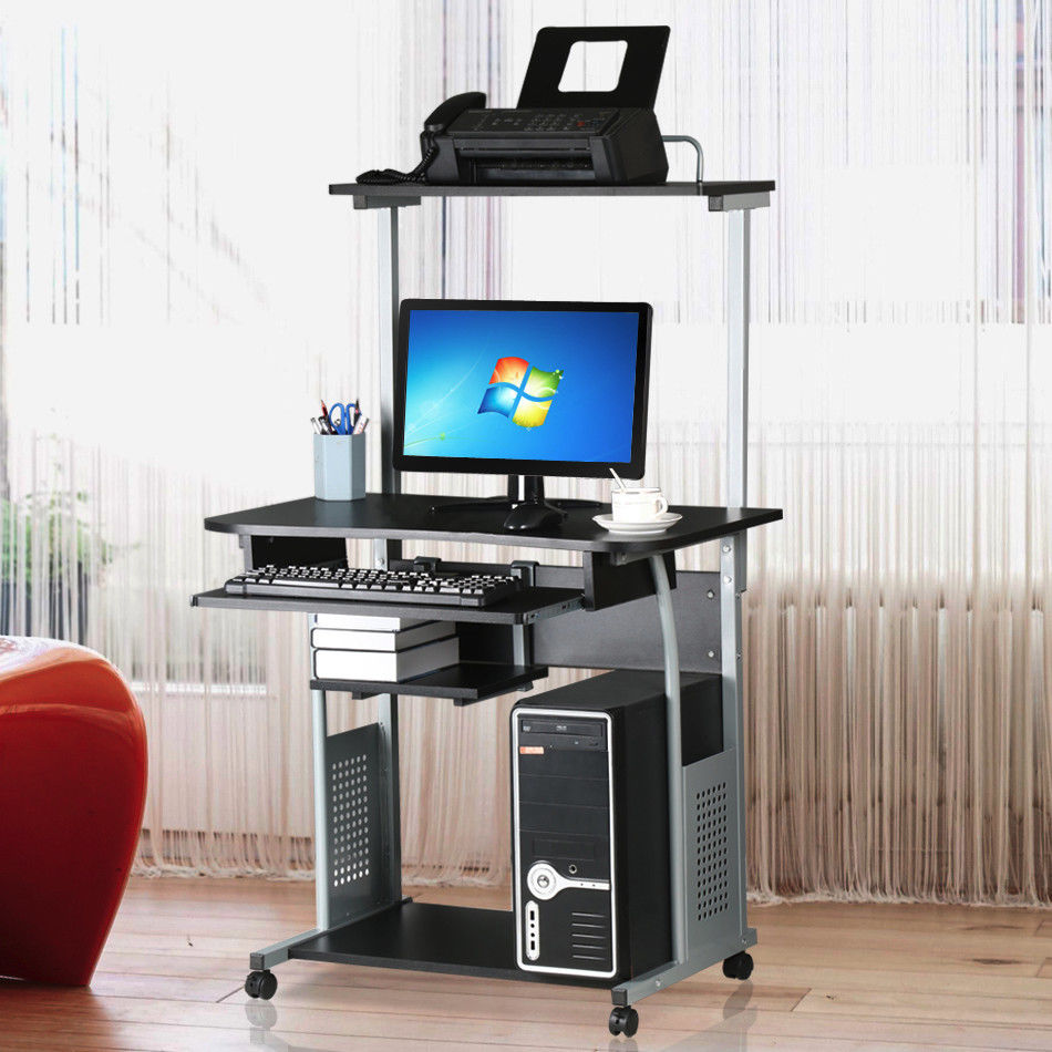 Computer Desk W/ Printer Shelf Stand Rolling Laptop Home