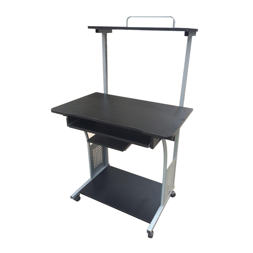 shelf for and stand with computer black desk printer glass desktop