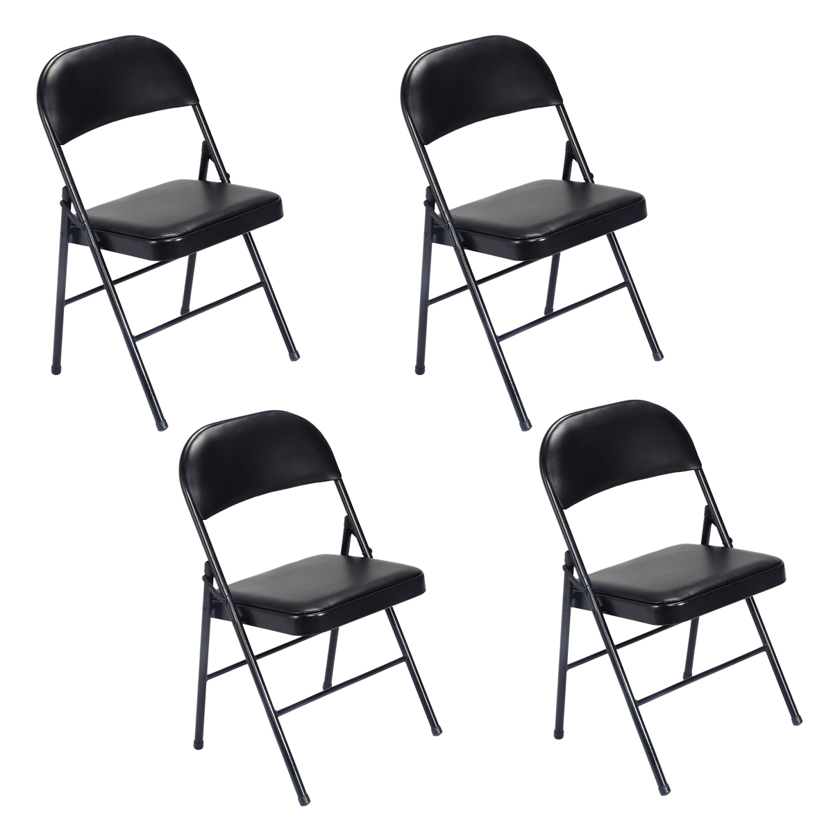 Details About 4 Fabric Folding Chair Black Soft Padded Seat Compact Steel  Back Strong Dinning