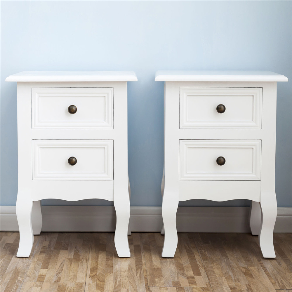 2pcs Wooden Bedside Table NightStand Storage Cabinet With