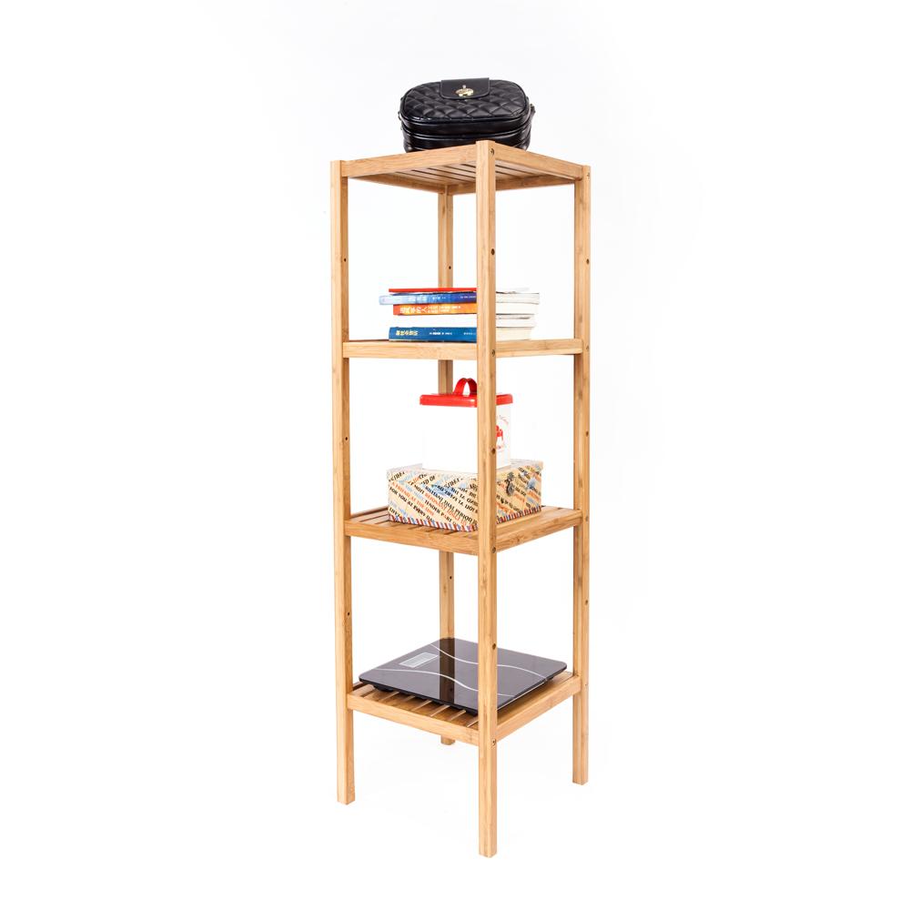 Bathroom Corner Shelf Shower 4 Tier Towel Organizer Cabinet Rack Bamboo