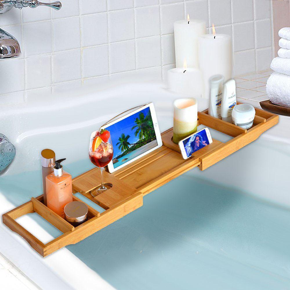 Bathtub Rack Bamboo Shelf Shelvs Shower Tub Book Reading Tray Holder ...