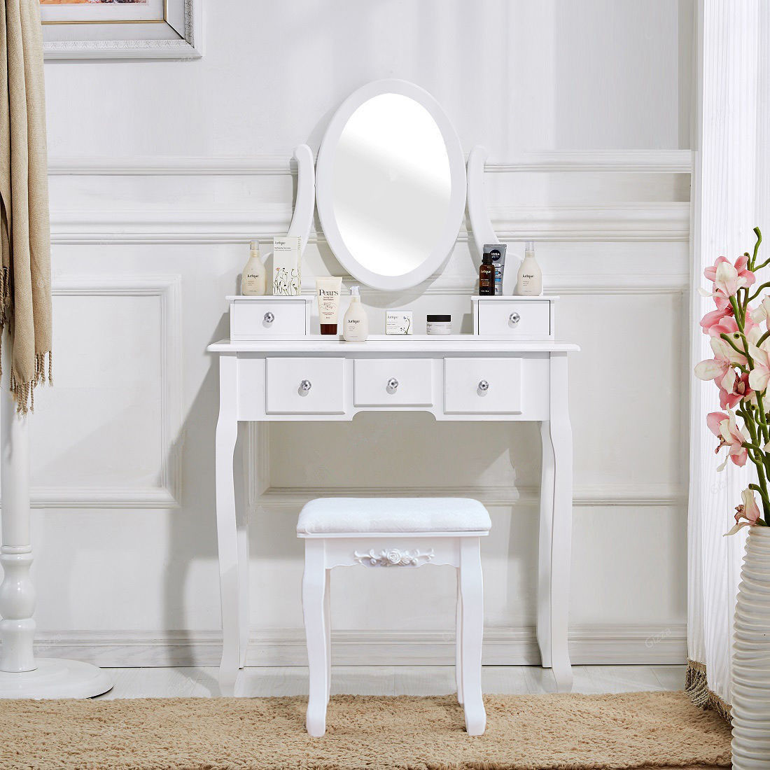 White Vanity Set 5 Drawer Makeup Dressing Table Jewelry