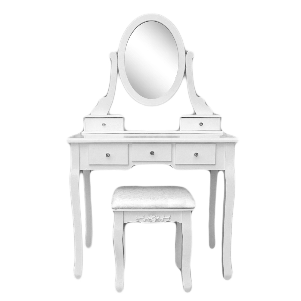 White Vanity Set 5 Drawer Makeup Dressing Table Jewelry Oval Mirror