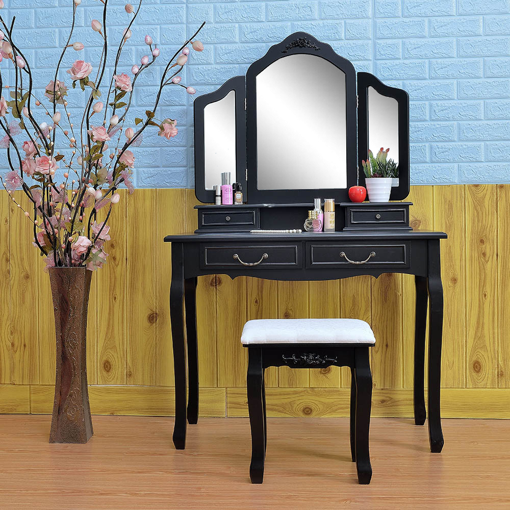 Makeup Table Vanity Set Folding Mirror Dresser 4 Drawers Black Ebay