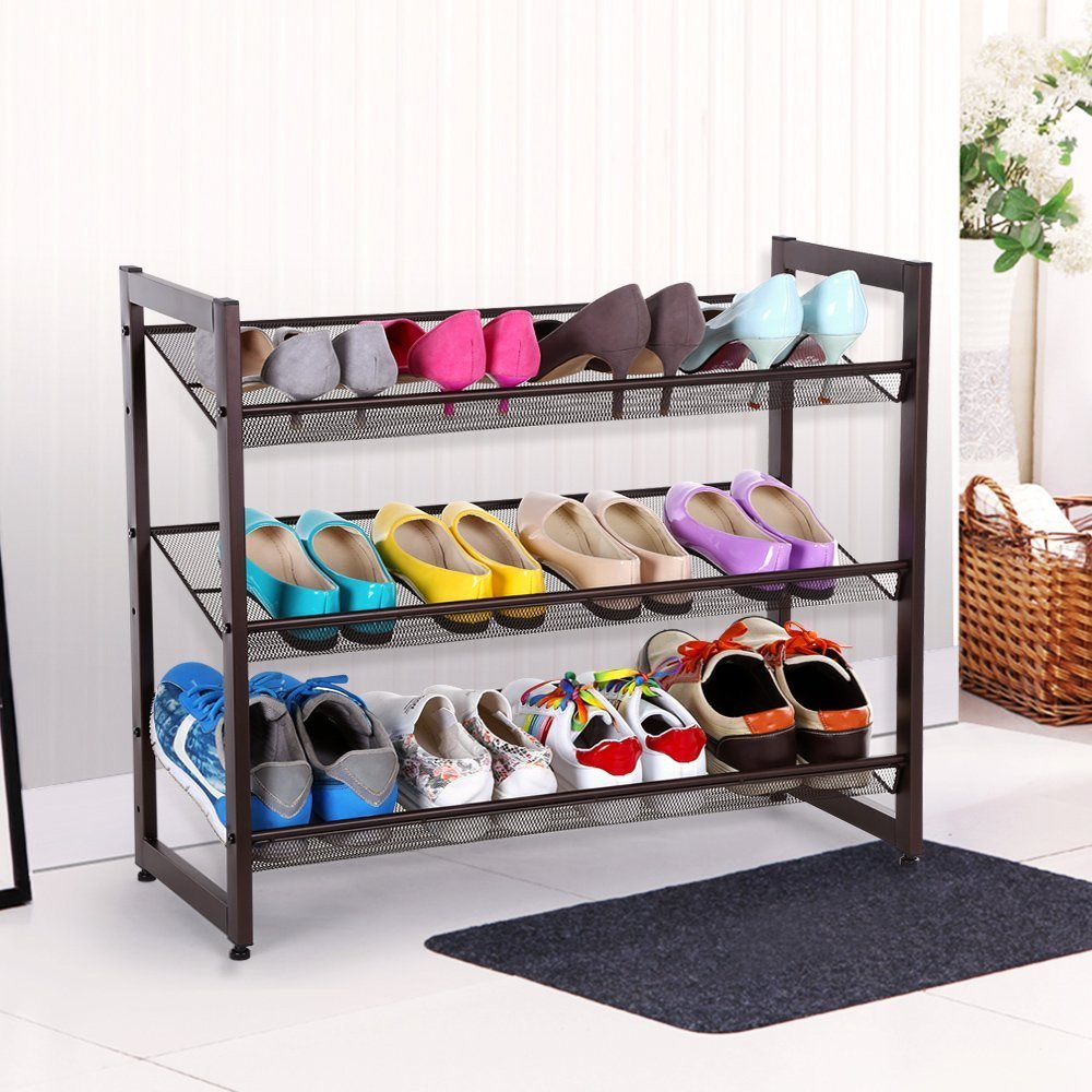 3 Tier Stackable Metal Shoe Rack Flat U0026 Slant Adjustable Shoe Organizer  Shelf