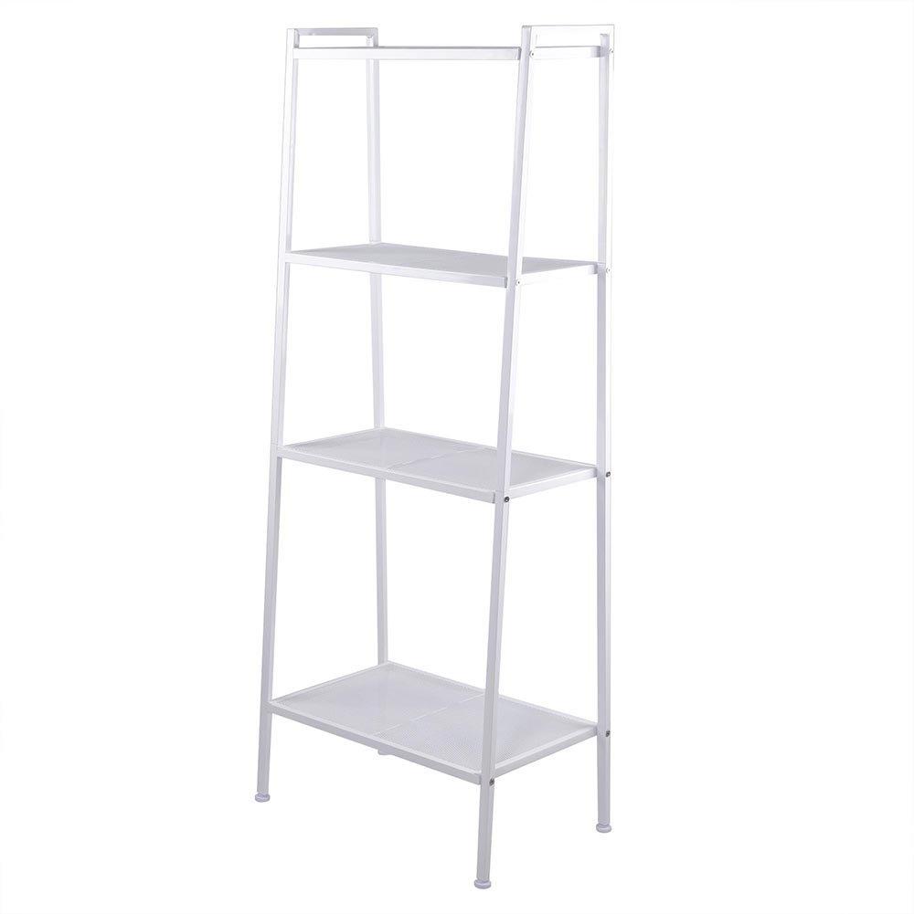 4 Tier Durable Bookcase Bookshelf Leaning Wall Shelf