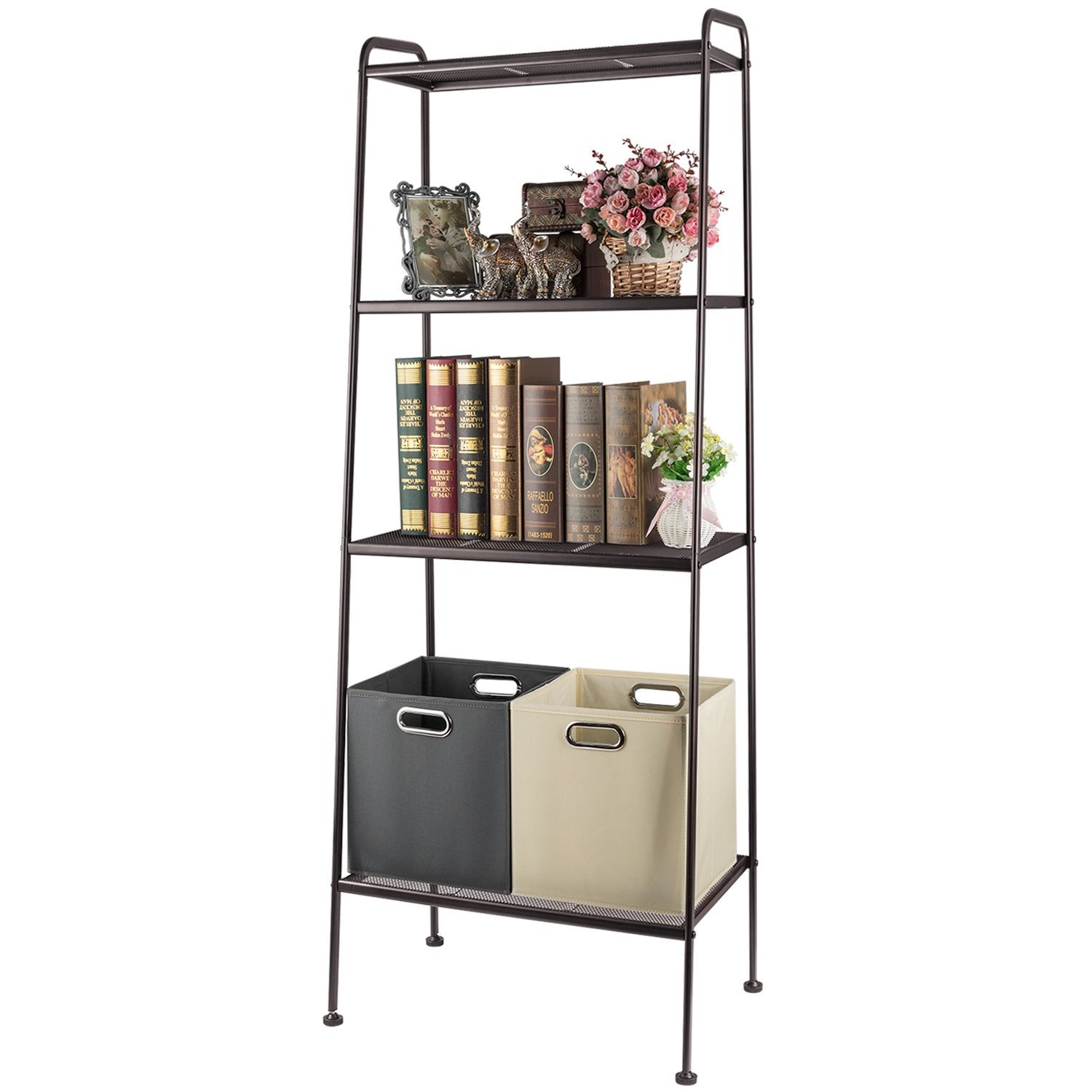 4 Tier Durable Bookcase Bookshelf Leaning Wall Shelf