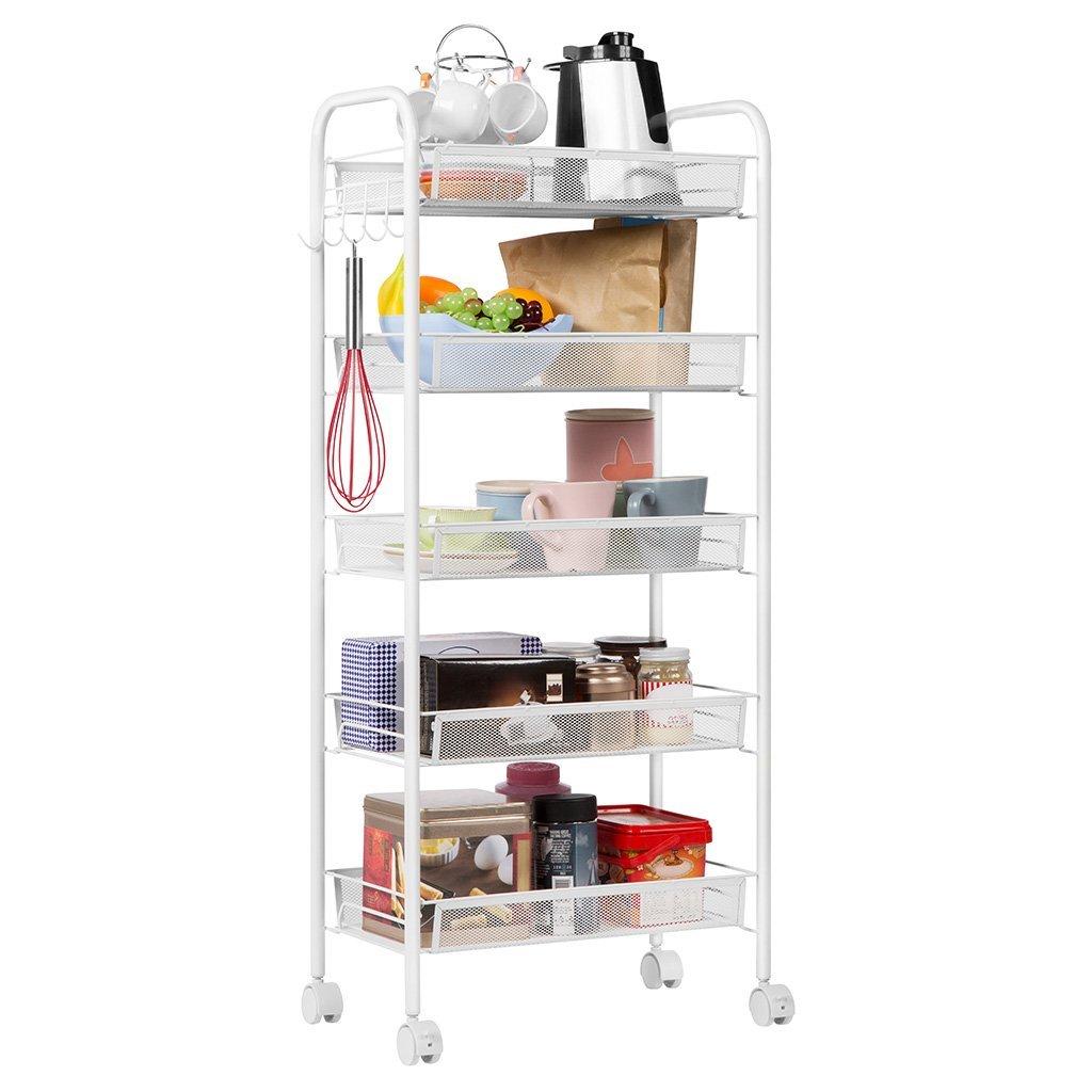 Details About Shelving Rack 5 Shelf Shelves Rolling Kitchen Pantry Storage Utility Cart Us