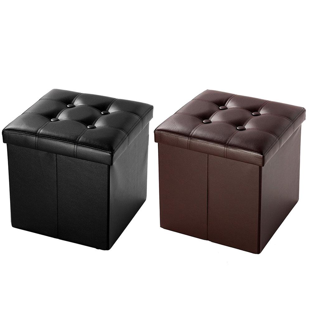 Modern Folding Ottoman Storage Cube Box Seat Faux Leather Footstool  Black/Brown