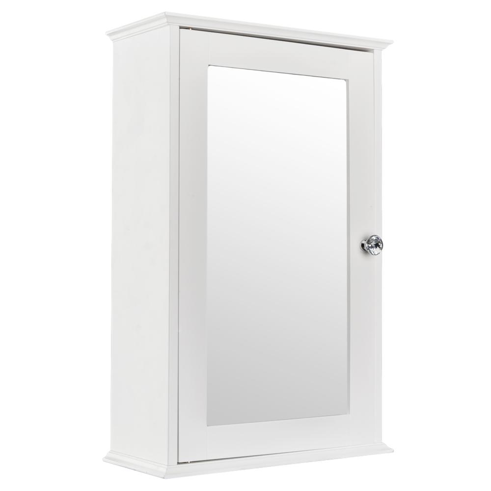 Elegant Home Medicine Wall Storage Mirrored Bathroom Cabinet White ...