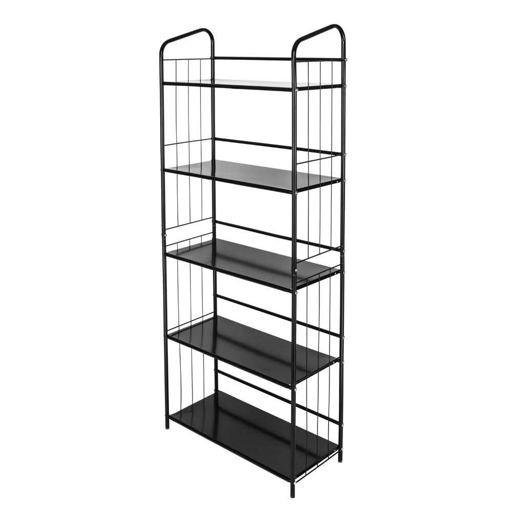 5 Tier Metal Frame Shelve Bookcase Rack Black Finish Storage Home Bookshelf