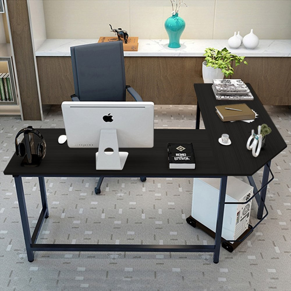 L Shape Corner Computer Gaming Desk Wood Steel Laptop