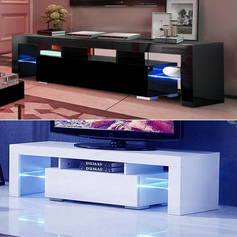 Details About High Gloss TV Unit Cabinet Stand With LED Lights Shelves Home  Furniture