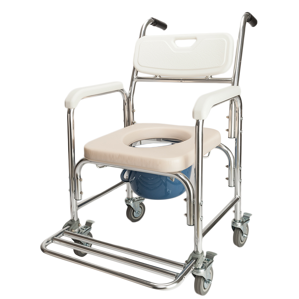 Heavy Duty Commode Wheelchair Bedside Commode Shower Toilet with ...