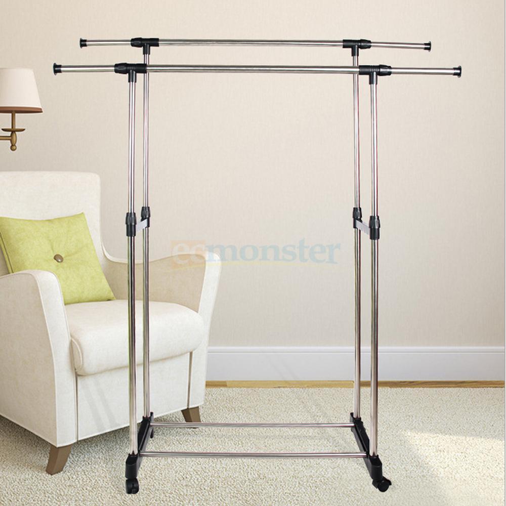 portable double adjustable heavy duty clothes hanger rolling garment rail rack. Black Bedroom Furniture Sets. Home Design Ideas