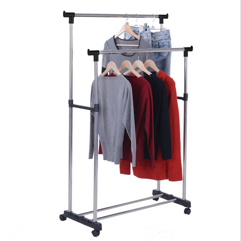 single double adjustable portable clothes hanger rolling. Black Bedroom Furniture Sets. Home Design Ideas