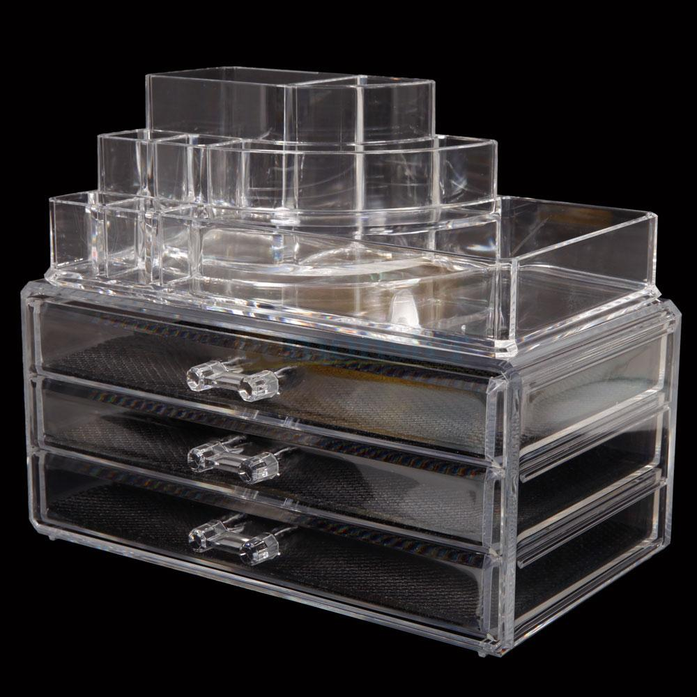 Clear Acrylic Makeup Case Cosmetic Organizer Drawers