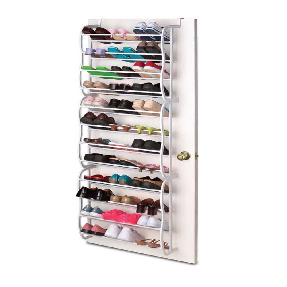 Hanging shoe rack over the door 36 pair closet space saver for Door shoe organizer