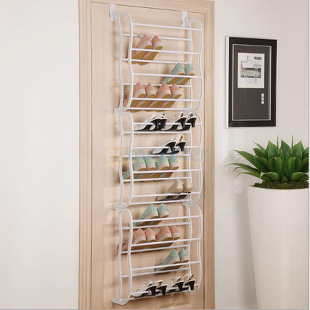 hanging shoe rack over the door 36 pair closet space saver organizer storage ebay. Black Bedroom Furniture Sets. Home Design Ideas