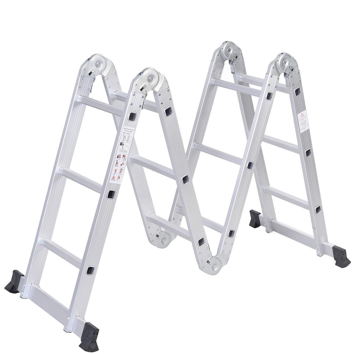 12 Foot Aluminum Step Ladders : Ft multi purpose aluminum folding step ladder scaffold