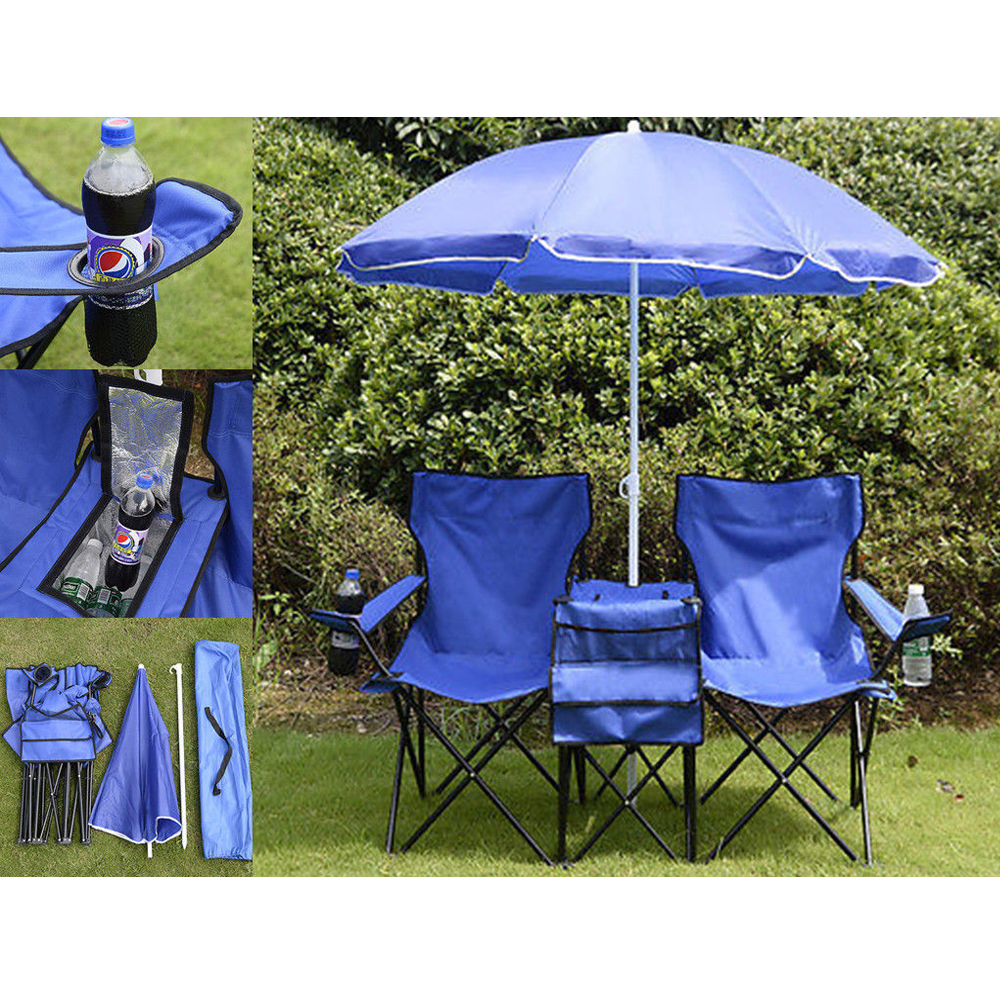 Portable Folding Picnic Double Chair W Umbrella Table Cooler Beach Camping Ch