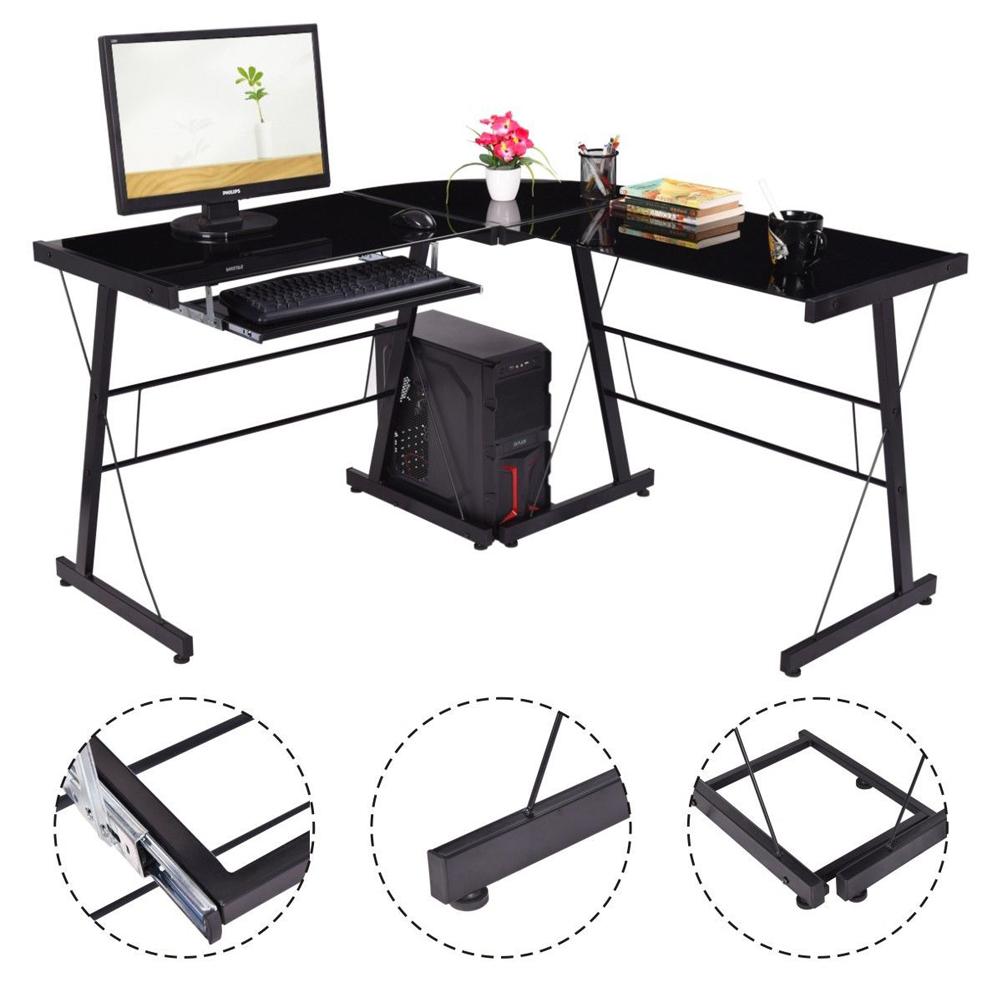 l shape corner computer desk pc glass laptop table workstation home office black ebay. Black Bedroom Furniture Sets. Home Design Ideas
