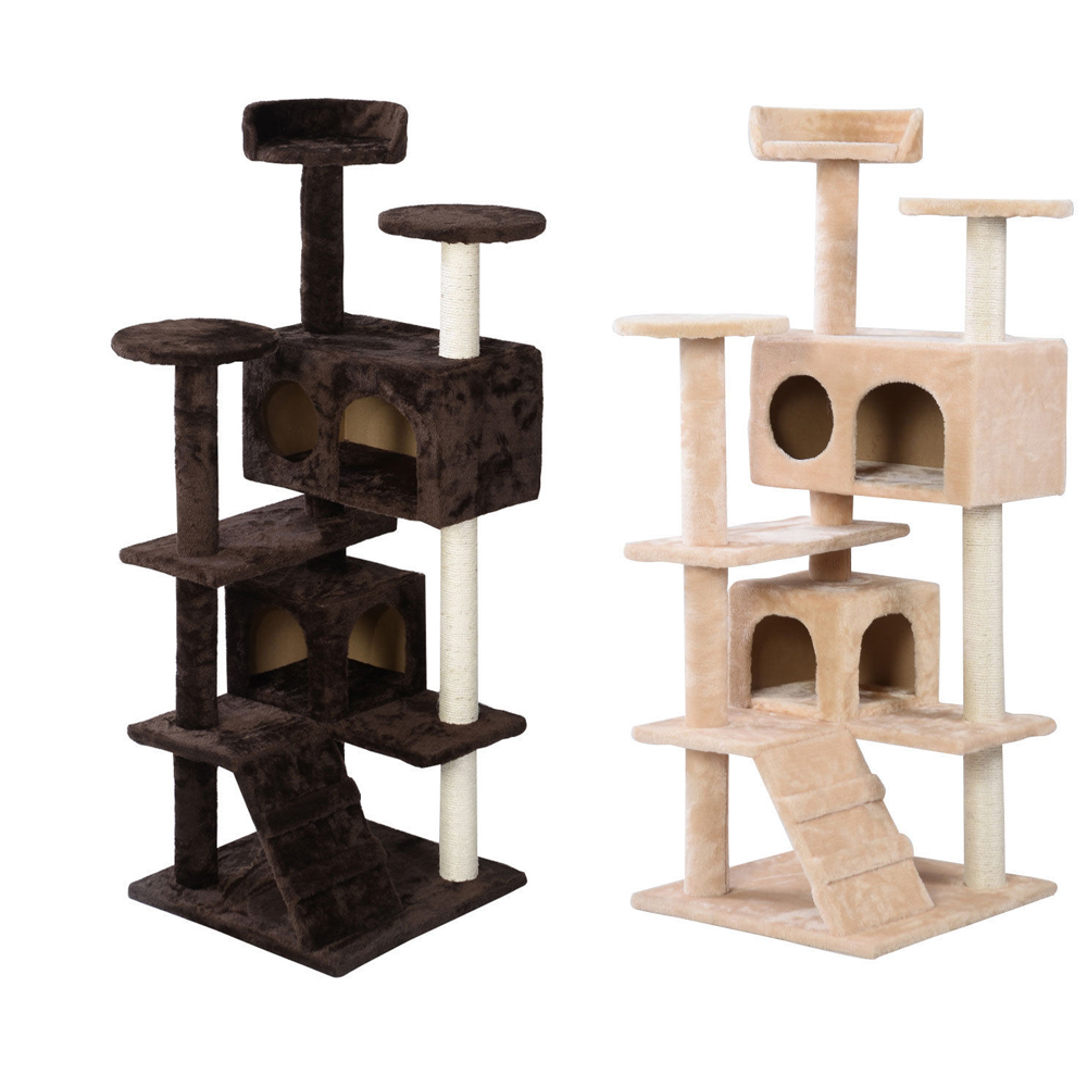 "52"" Cat Tree Tower Condo Play House Pet Scratch Post"
