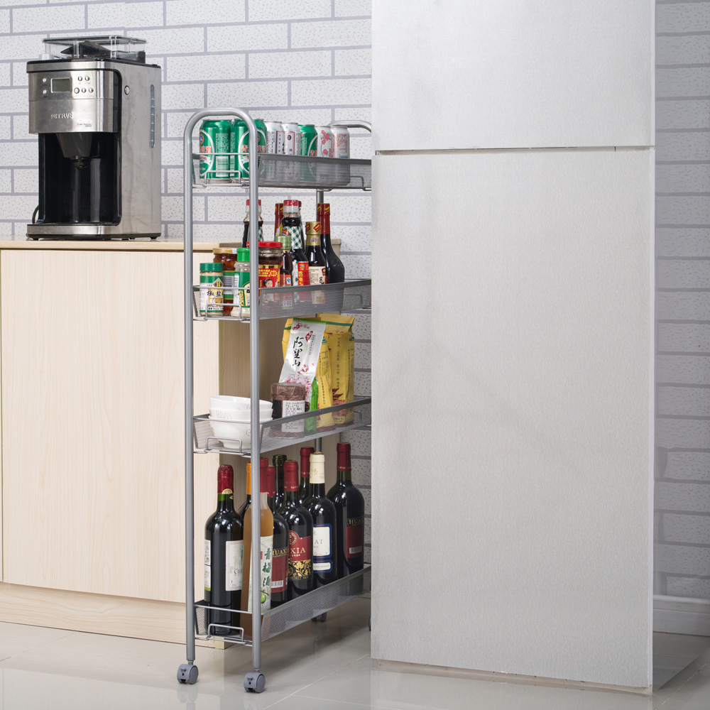 Rolling Storage Slim Cart Laundry Room Kitchen Space