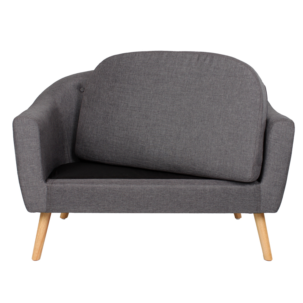 Linen fabric single loveseat living room furniture button for Grey single chair