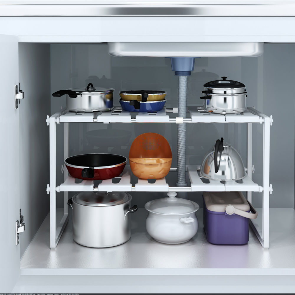 Kitchen Organization Tools: Under Sink 2 Tier Expandable Shelf Organizer Rack Storage